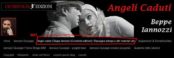 Beppe Iannozzi - menù e testata blog