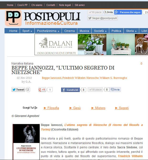 L'ultimo segreto di NIetzsche di Beppe Iannozzi - su Postpopuli recensione e intervista di Giovanni Agnoloni