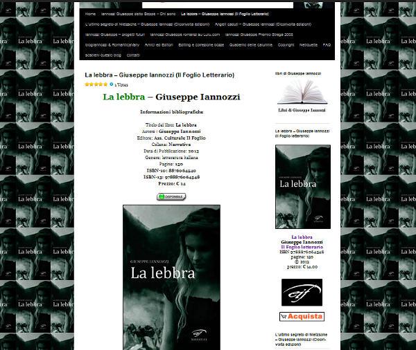 La lebbra - Giuseppe Iannozzi - Il Foglio letterario - la pagina dedicata