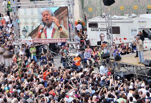 Beppe Grillo a Torino, 17 maggio 2014