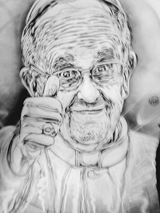 Papa Francesco - murales in Piazza di Spagna