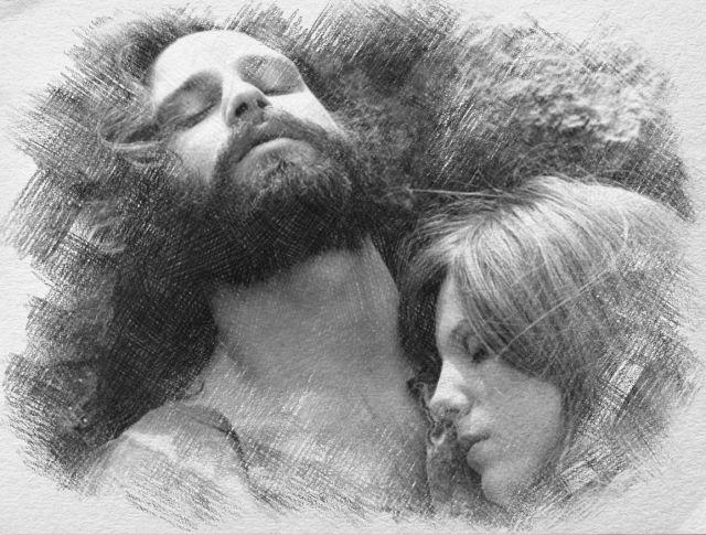 Jim Morrison and Pamela Courson - disegno di Iannozzi Giuseppe