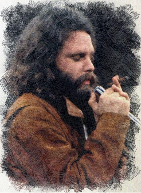 Jim Morrison 1969 - digital art by Iannozzi Giuseppe