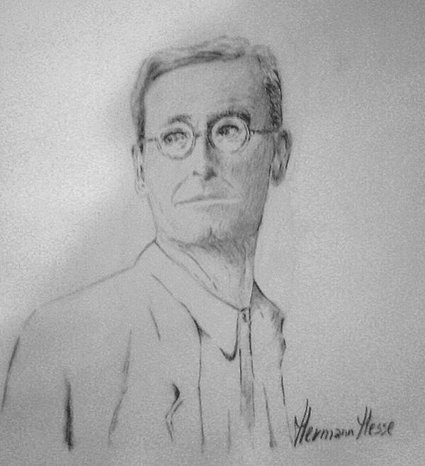 Hermann Hessse - disegno a matita, punta morbida - di Iannozzi Giuseppe