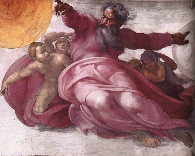 Michelangelo - Creazione degli astri e delle piante (particolare)