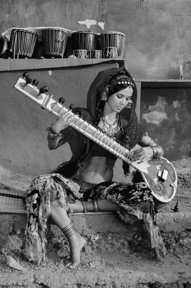 woman playing sitar