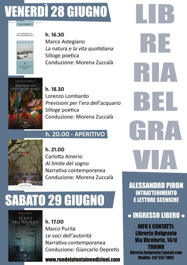 rue de-La-Fontaine Edizioni -libreria Belgravia nei giorni 28 e 29 giugno 2019.