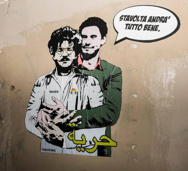 Giulio Regeni abbraccia Patrick Zaky - Questa volta andrà tutto bene - by Street Artist Laika