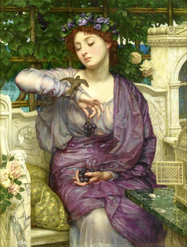 Lesbia con il suo passero, olio su tela, Sir Edward John Poynter
