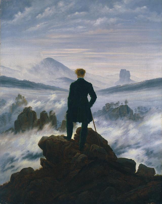 Viandante sul mare di nebbia - Caspar David Friedrich